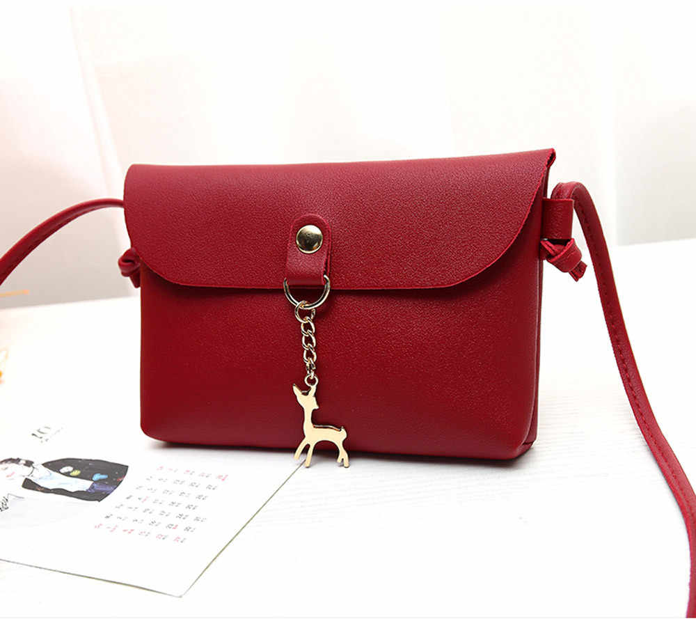 Women Bag Vintage Small Deer Pendant Leather Crossbody Shoulder sac main femme torebka damska shopper ladies hand bags