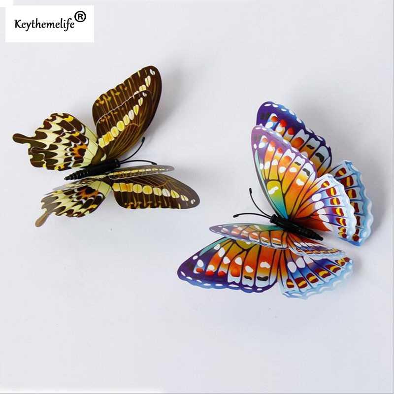 Keythemelife 12 шт. светящиеся бабочки наклейки на стену двухслойные лучший подарок светящиеся 3D бабочки спальня домашний фридаж Декор A