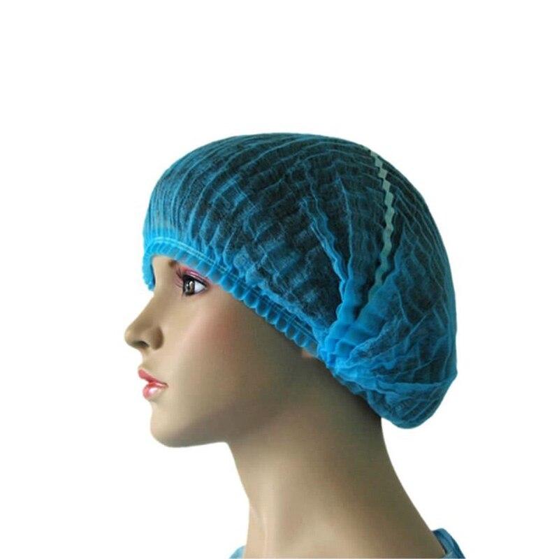 100pcs Medical Disposable Cap Pleated Anti Dust Hat Women Men Bath Caps For Spa Hair Salon Beauty Accessories