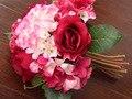 Seda roja rose broche hydrangea Wedding nupcial throw bouquet fleurs moniteur blanc de seda ramo boda