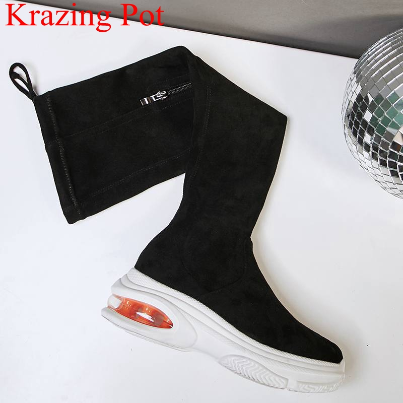 2018 new arrival round toe zipper flock strech over-the-knee boots platform wedge women thigh high boots warm runway shoes L13 lxunyi 2018 new high quality black warm snow boots women round toe platform thigh high boots fashion zipper over the knee boots