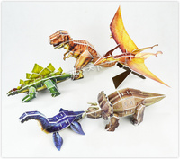Educational Toys Five Styles Cartoon Dinosaur 3d Jigsaw Puzzle Assembly Model Paper Building Game Creative Children