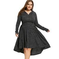 LANGSTAR 2018 Plus Size 5XL Lace Up Dip Hem Hooded Dress Women Spring Hollow Out Long