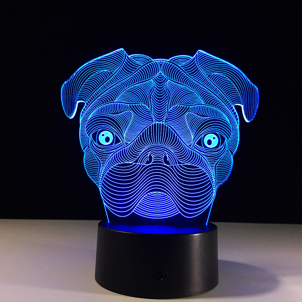 Belldog Lamp 3D Baby Light novelty toy lamp 7 color changing visual illusion LED light a ...