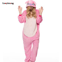 Cute Cartoon Animal Unicorn Pajama Sets Blue Pink Stitch Pyjamas Women Winter Fannel Hooded Unicornio Pijama