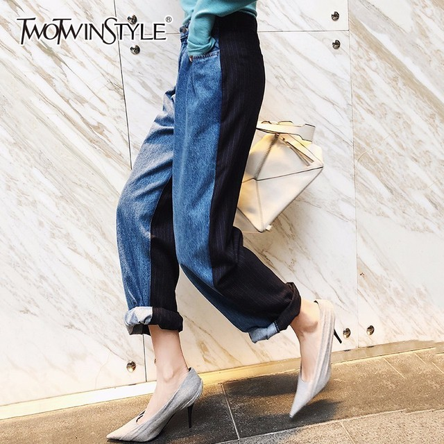 Twotwinstyle Patchowork Jeans Female High Waist Side Stripe Pocket Long Wide Leg Pants 2018 Spring Fashion Casual Clothing by Twotwinstyle