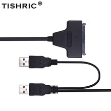 TISHRIC Original SATA to USB 2.0 To 7 15 22pin Cable Adapter External USB Power for 2.5'' SATA SSD HDD Hard Disk Drive Converter(China)