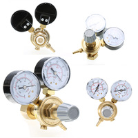 Mayitr 1pc Argon CO2 Gauges Pressure Reducer Mig Flow Meter Control Valve Dual Gauge Welding Regulator