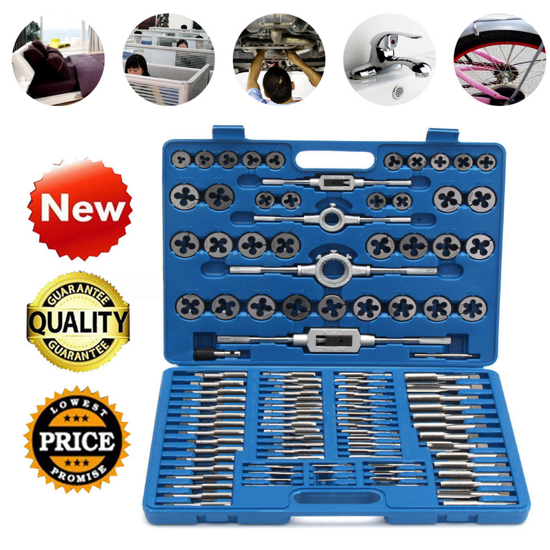 110pcs Metric Tap and Die Set Thread Cutting Edge Holder Repair Tool Metalworking Hand Tools Tap Wrench With Case|Tap & Die| |  - title=