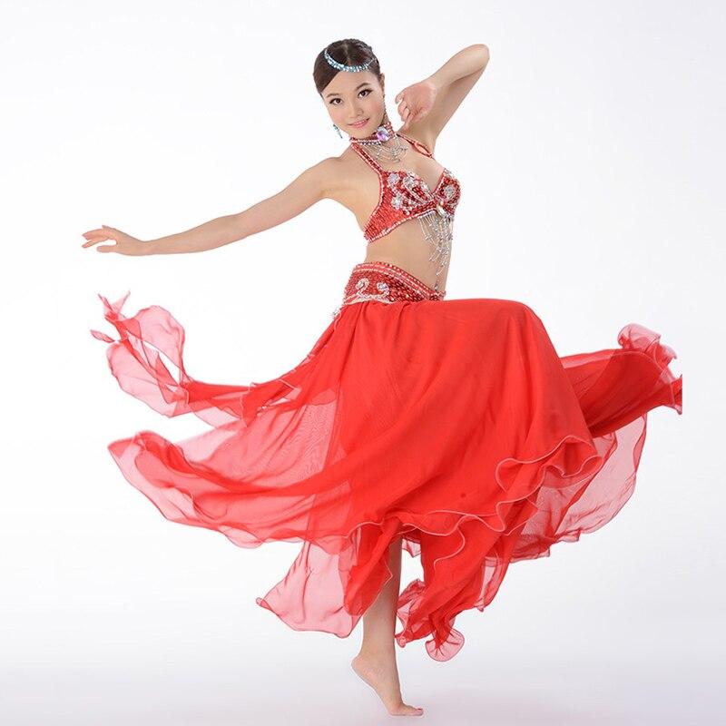 Belly Dance Costume Performance Belly Beading Cloth for Women Belly Dance Costumes Dance Bra Belt Skirt