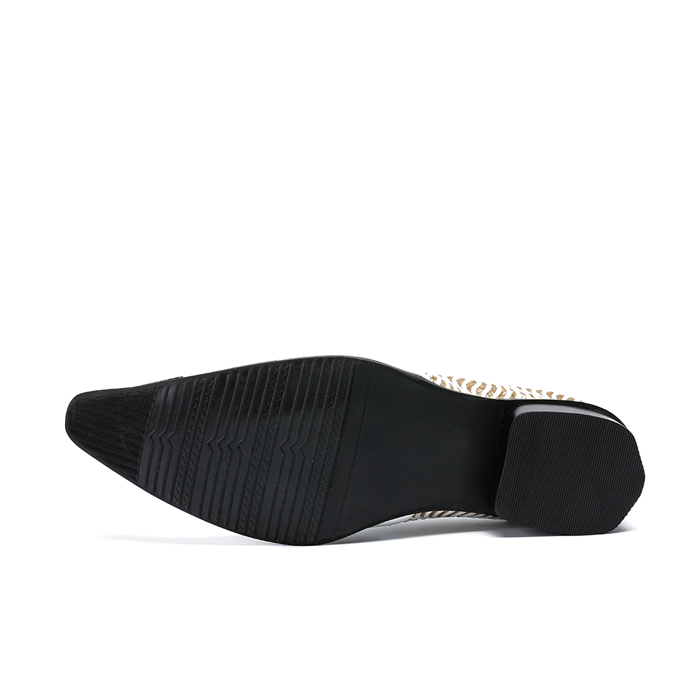 75b69a3931 Christia Bella Fashion White Wedding Shoes Glitters Mens Pointed Toe ...