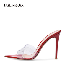 Women Open Pointy Toe Transparent PVC Mules High Heel Red Sandals Nude Wedding Heels Ladies Black Stiletto Summer Shoes