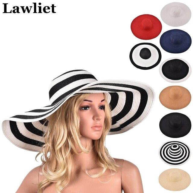 Fashion Womens Church Kentucky Derby Hats Large Wide Brim Straw Summer Floppy Sun Hat  Black And White Striped Cap A330