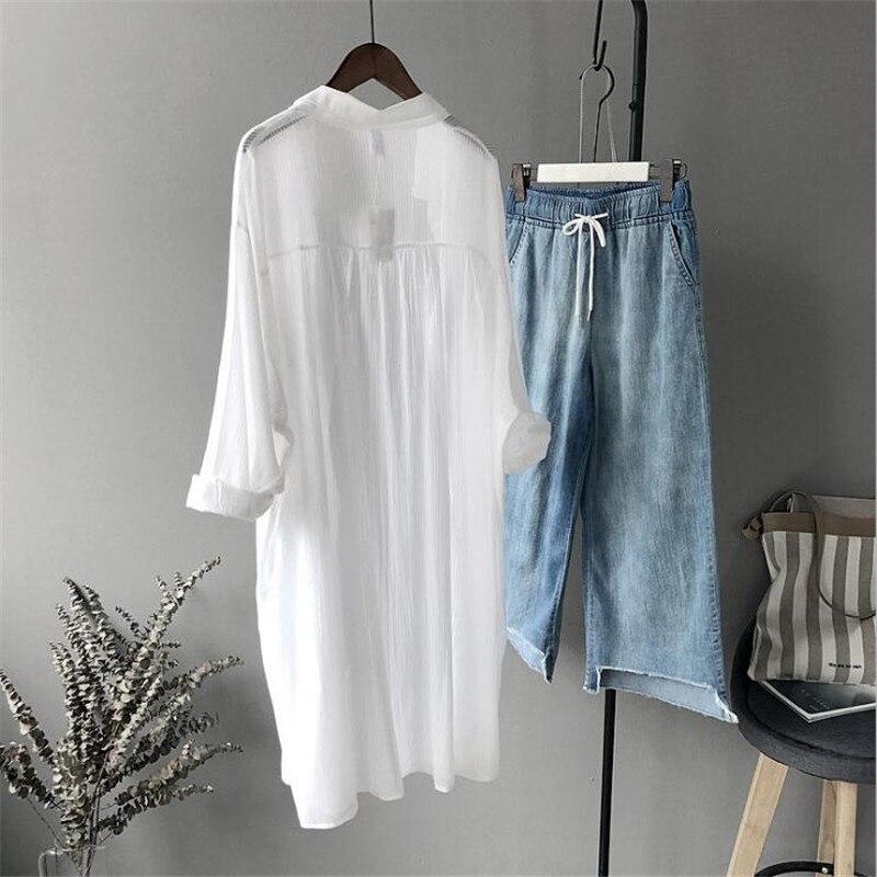 Coton décontracté blanc Long Blouse femmes 2019 d'été femmes à manches longues blanc chemises Blouse de haute qualité lâche Blouse hauts - 3