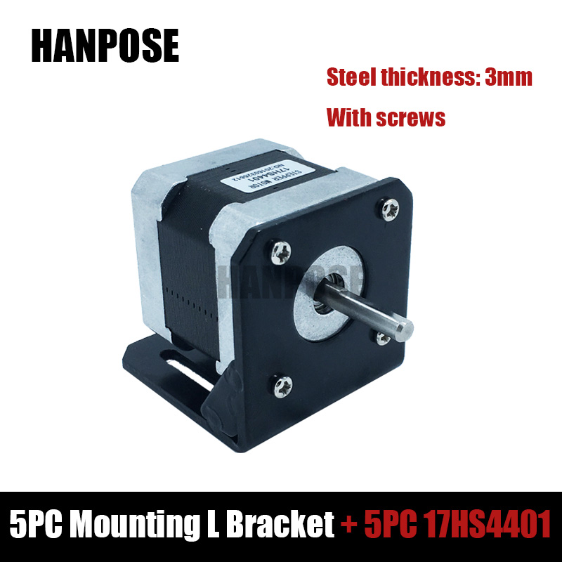 Free shipping 5pcs 4-lead Nema17 Stepper Motor 42 motor 42BYGH 1.7A (17HS4401) with nema 17 Mounting L Bracket Mount italians gentlemen повседневные брюки