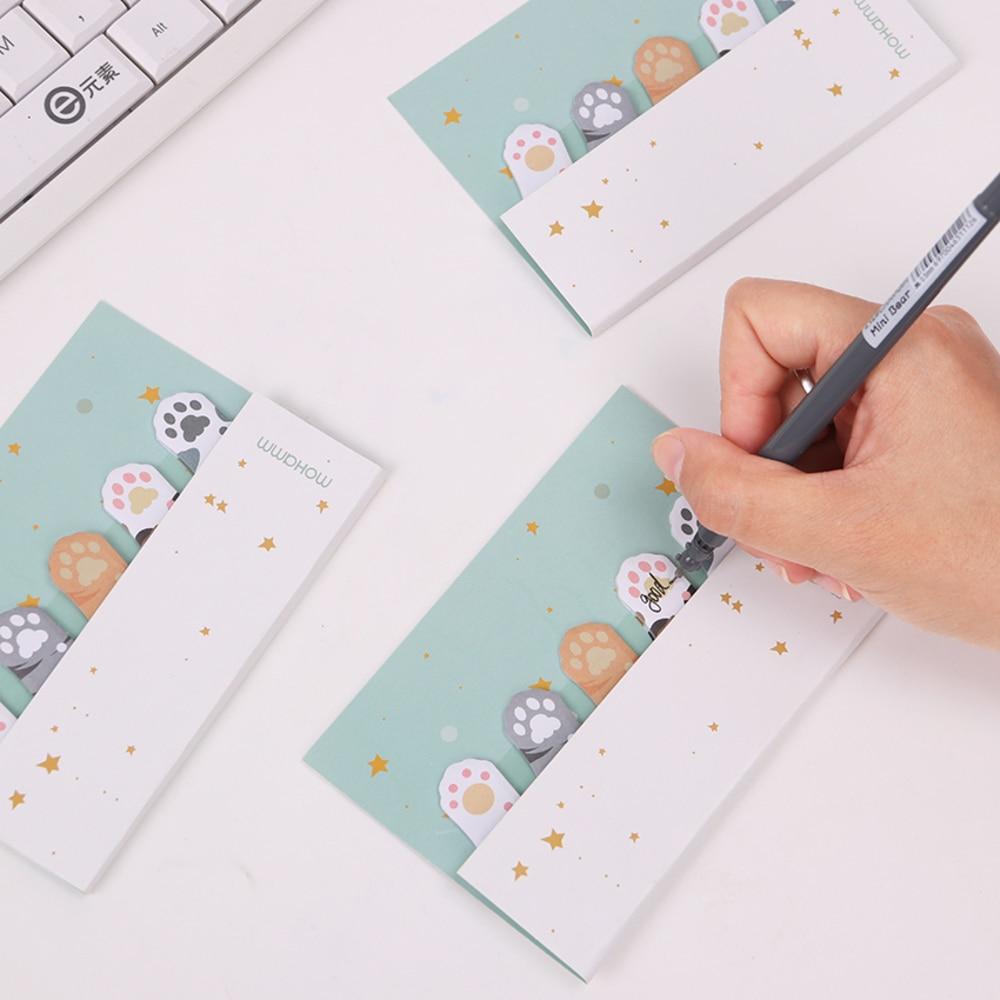 3PCS DIY Mini Cute Kawaii Cartoon 5 Colors Animal Memo Pad Cat Paw Post It Notes Paper Stickers Korean Stationery WJ-SMTP137