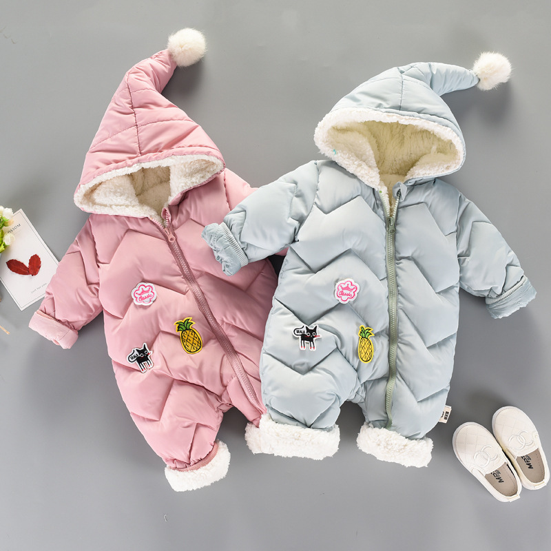 High Quality Newborn Baby Girl Clothes Infant Bebe Cotton Thicken Warm Hooded Romper Winter Baby Jumpsuit Outfits Costume 0 24M