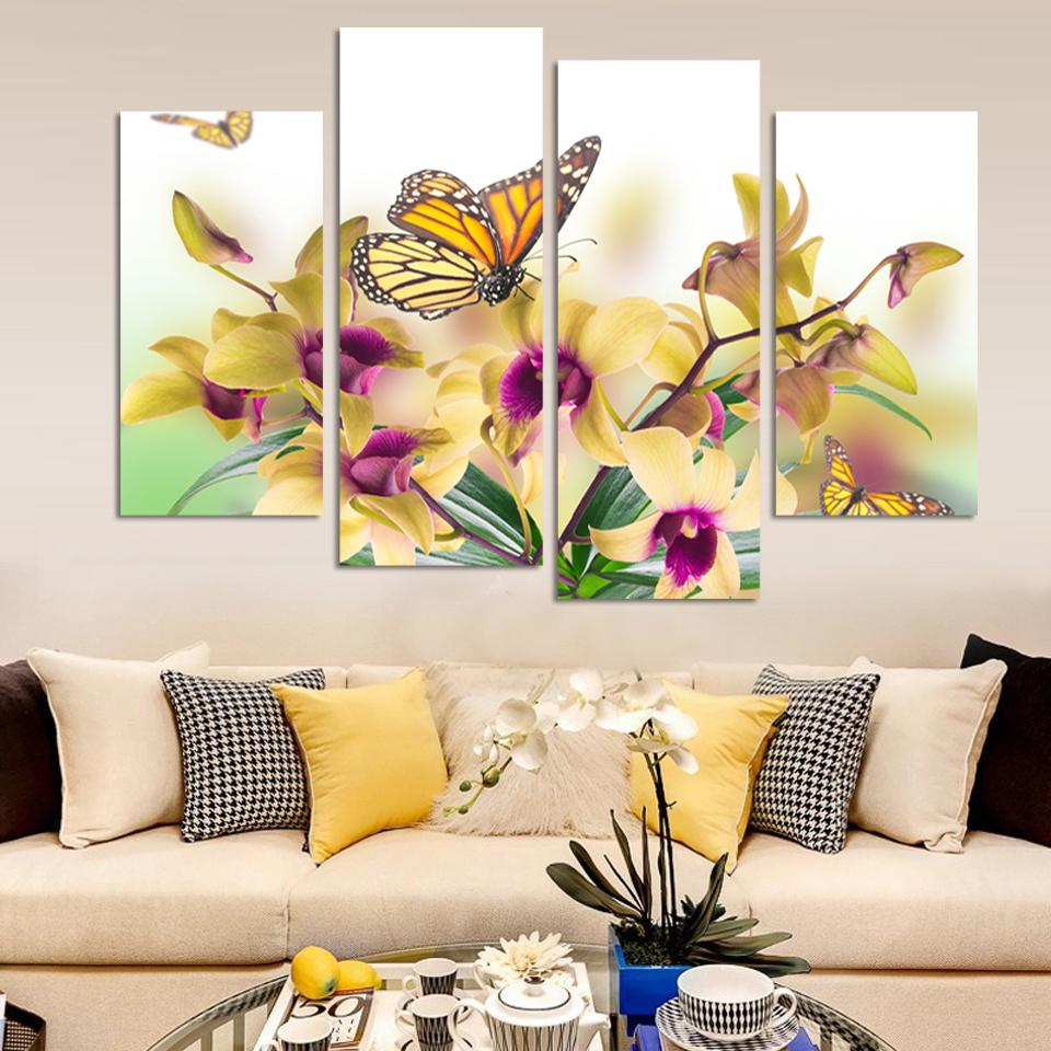 Printed Yellow Butterfly Orchid Flowers Decorative Canvas Painting 4 ...