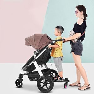 Image 4 - Fashion Children Stroller Pedal Adapter Second Child Auxiliary Trailer Twins Scooter Hitchhiker Kids Standing Plate with Seat