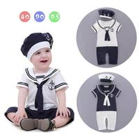 Baby Boys Rompers Children Clothes Infant Summer Sailar Collar Short Sleeve One Piece Jumpsuits Overalls+Cap 13208
