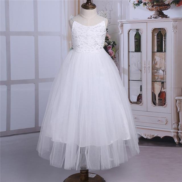 2020 Girls Mesh Spaghetti Shoulder Straps Flower Girl Dress High waisted Princess Pageant Ball Gown Wedding Party Dress SZ 2 14