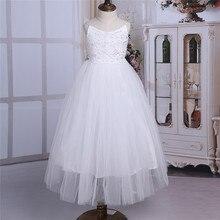 2020 Meisjes Mesh Spaghetti Schouderbanden Bloemenmeisje Jurk Hoge Taille Prinses Pageant Baljurk Wedding Party Dress Sz 2 14