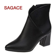 Ladies Boot Women High Heel Shoes Martain Boot Suede Solid Color Round Toe Zipper Shoes(China)