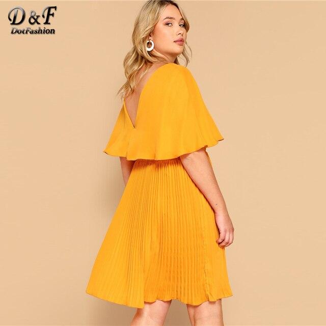 Dotfashion Plus Size Ginger Ruffle Detail V-Neck Solid Dress Women 2019 Boho Summer Cloak Sleeve Pleated High Waist Short Dress 1