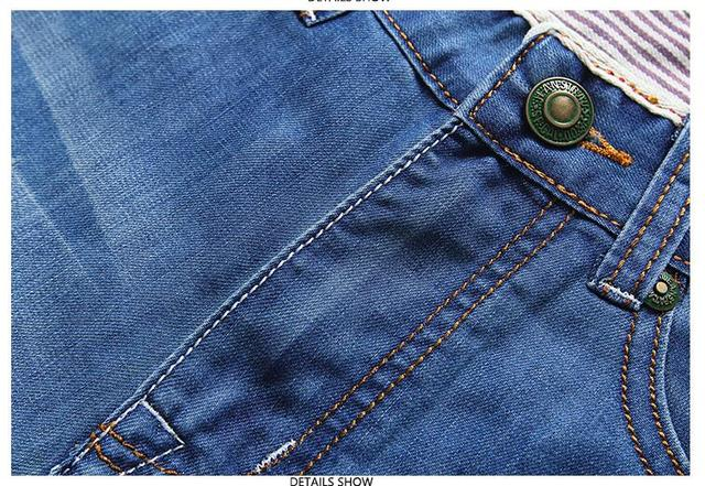 Solid Straight Denim Shorts  4
