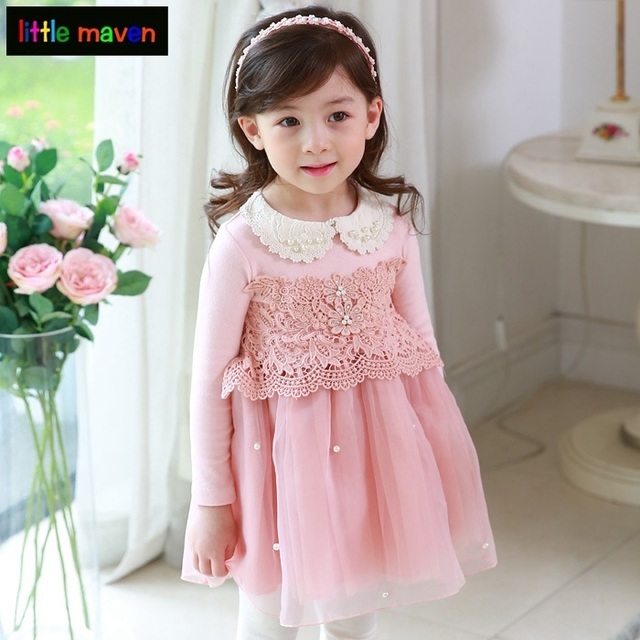 610cea2e87c4e Autmn Princess Dress for Girls Clothes Pearl Puff Lace Robe Fillette  Costumes Children Clothing 2017 Brand
