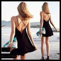 Ms. d'été station balnéaire Bohème robe sexy V profond halter Mini-Jupe avec un sling pour Européen et Américain style discothèque porter