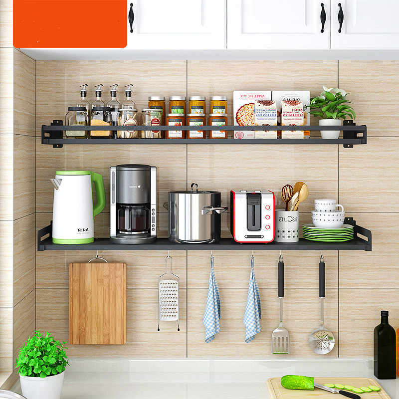 Black Stainless Steel Kitchen Shelf Wall Mounted Microwave Oven Rack Kitchen Wall Hanging Storage Shelf Seasoning Rack Aliexpress