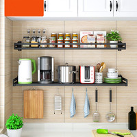 Black Stainless Steel Kitchen Shelf Wall mounted Microwave Oven Rack Kitchen Wall Hanging Storage Shelf Seasoning Rack