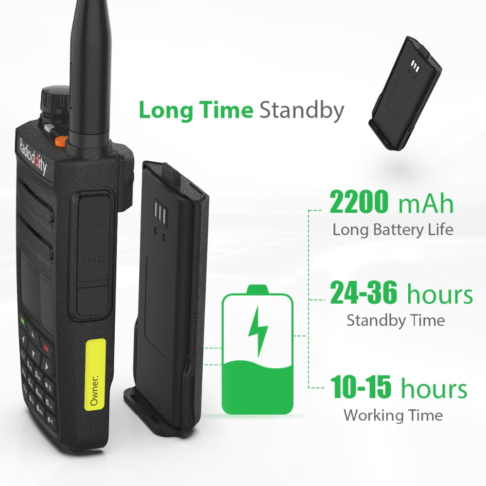 Radioddity GD-77 Dual Band Dual Time Slot Digital Two Way Radio Walkie Talkie DMR Compatible with Motrobo Tier 1 Tier 2 + Cable