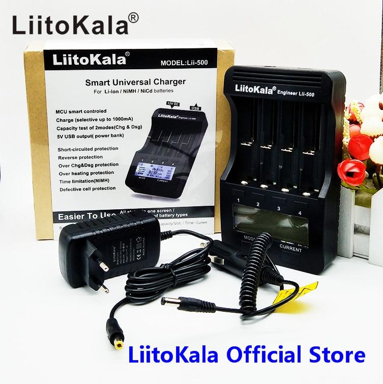LiitoKala lii-500 LCD 3.7 V 1.2 V 18650 26650 16340 14500 10440 18500 20700B 21700 Caricabatteria con schermo