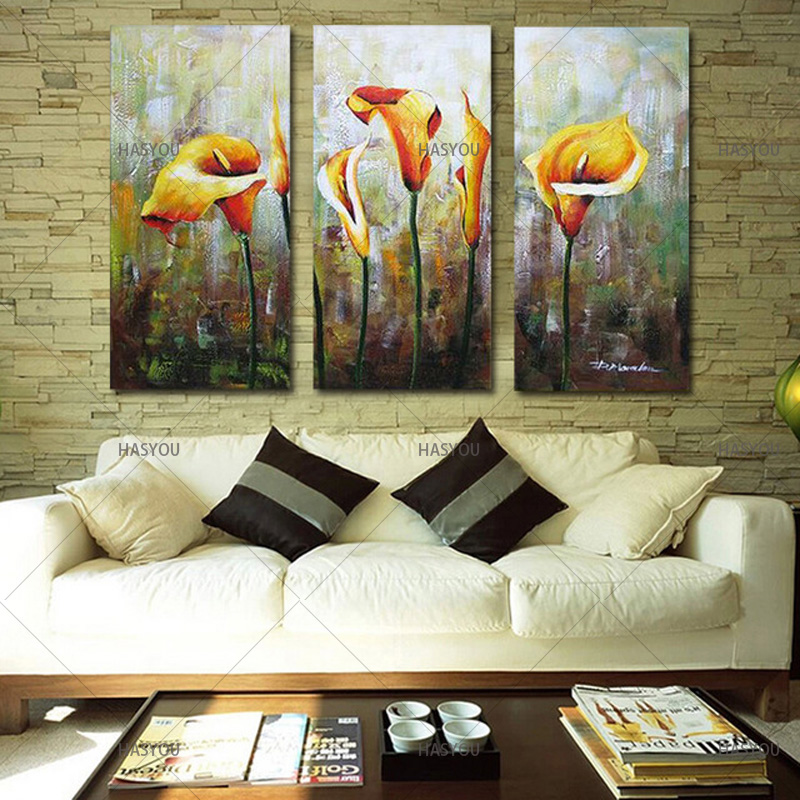 Hand-Painted-3pcs-Modular-Calla-Lily-Flower-Picture-Oil-Painting-On-Canvas-Wall-Art-Gift-Living.jpg_640x640