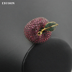 Image 5 - LYCOON elegant crystal apple rings food style yellow gold color luxury prong setting rose red/green Cubic Zirconia for women