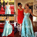Kaley Cuoco premios Sag pliegues sweetheart Pretty imperio largo vestido de color turquesa celebridad CD027