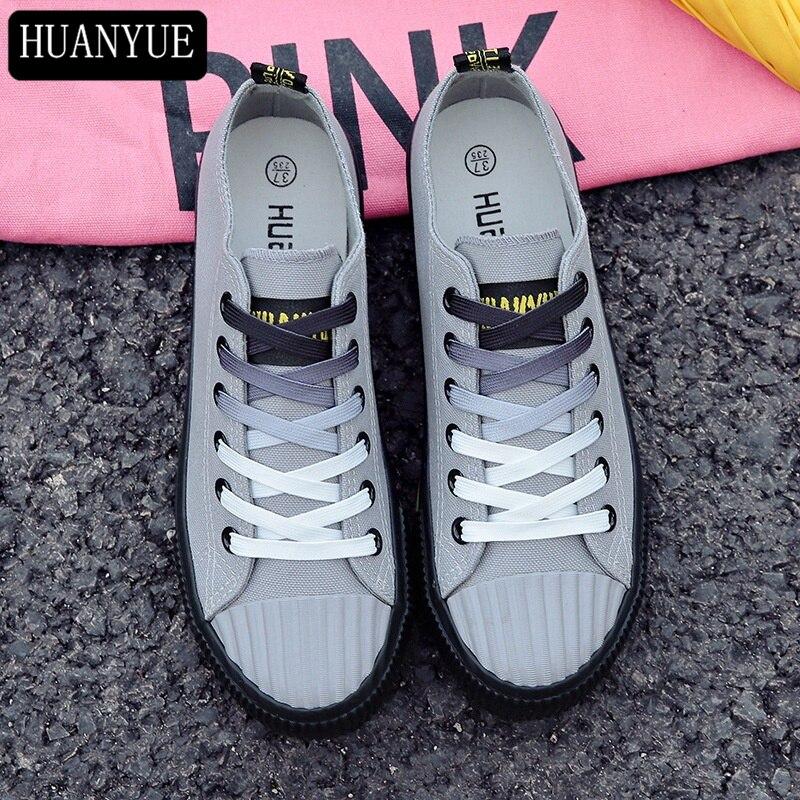 Solide Gris Blanc Noir Toile Chaussures Nouvelle 2018 Printemps De Mode de Femmes Casual Chaussures Femmes Sneakers Vulcaniser Chaussures Espadrilles
