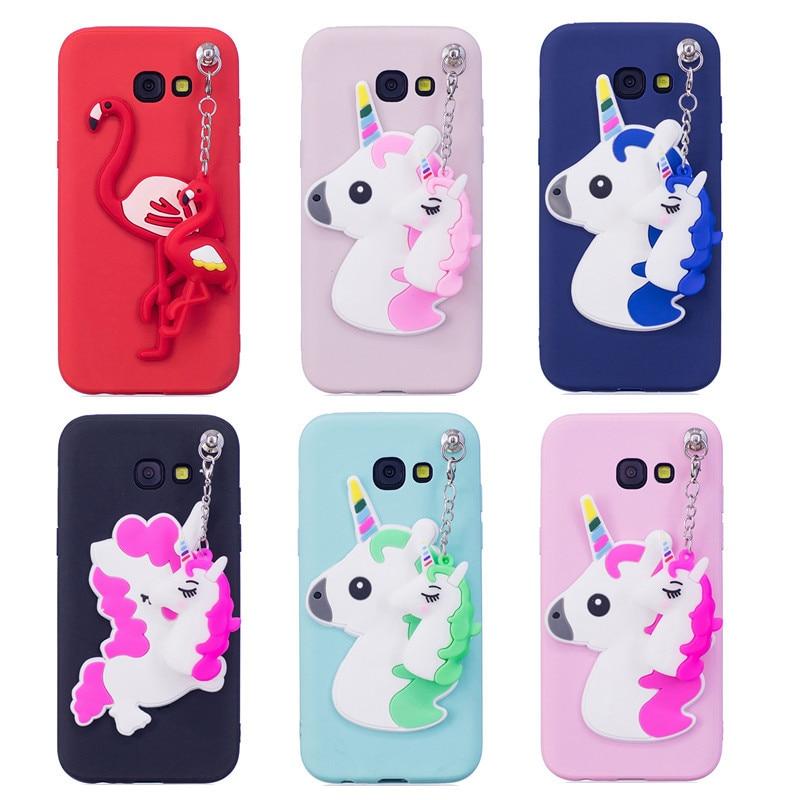Galleria fotografica Wekays Case For Samsung Galaxy A3 A5 A7 2017 SM-A320F SM-A520F SM-A720F 3D Cute Cartoon Unicorn Flamingo TPU Fundas Cover Cases