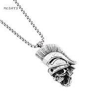 MCSAYS Guerreiro Esqueleto Pingente CZ Jóias Em Aço Inoxidável 27 ''Caixa de Cadeia Colar de Cabeça Do Crânio Do Punk Dos Homens Acessórios de Moda 2HP