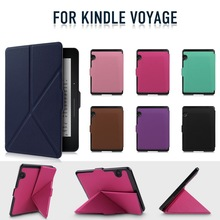 [High Quality] New Arrival Ultra Slim Transformer Style Heat Press PU Leather Protective Case for Amazon Kindle Voyage