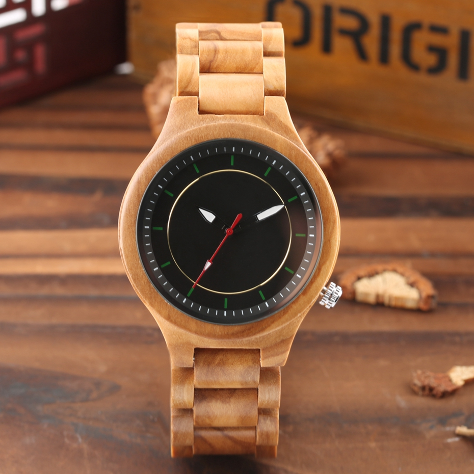 Wooden Watch Men's Creative Red Pointer Green Scale Round Analog Watch Natural Ebony Band Clock Man Fashion Quartz Wristwatches 2018  2020  (18)