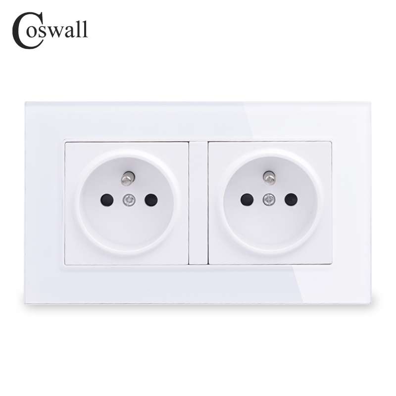Coswall 16A Double French Standard Wall Socket Crystal Glass Panel Power Outlet Grounded With Child Protective Door Grey Black