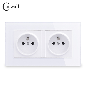 Coswall 16A doble toma de pared francesa cristal Panel toma de corriente enchufe a tierra 146mm * 86mm
