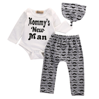 3PCS Set Cotton Newborn Baby Girls Boys Tops Full Sleeve Romper Long Pants Hat Outfits Clothes