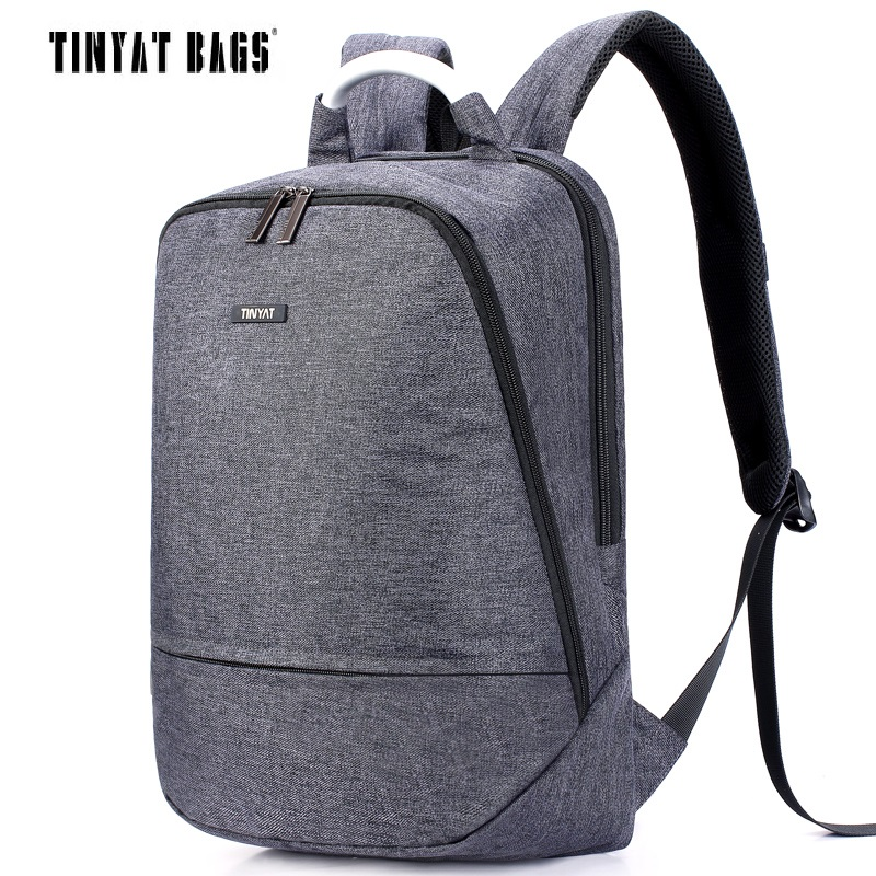 TINYAT Men's Canvas Backpack For 15.6 Inch Laptop Backpack Travel Softback Women Mochila Notebook School Bags For Teenages T850