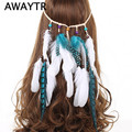 AWAYTR Women Fashion Hair Accessories Bohemian Feather Headbands Headdress Indian Female White Blue Feather Drop Headwear