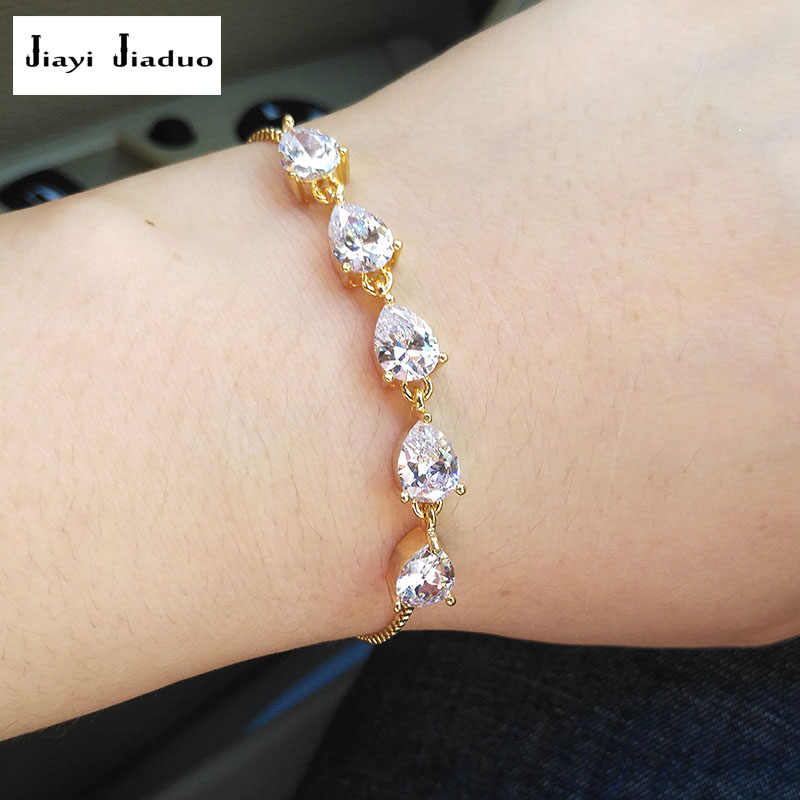Jiayijiaduo AAA Cubic Zirconia Bracelet Womens Jewelry Gold Color / Silver Color Drop-shaped Adjustable Size Girl Bracelet Charm