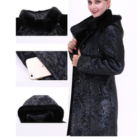 S 6XL Plus Size Winter Warming Genuine Mink Fur Coats Fur Coat Long Outwear Rabbit Fur with Faux Fox Fur Collar Warm Clothing